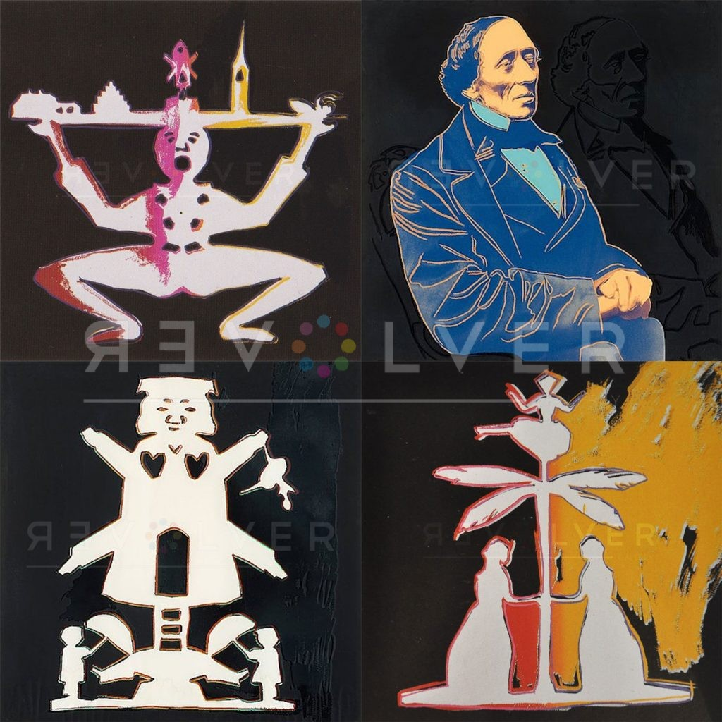 Andy Warhol Hans Christian Andersen Complete Portfolio stock image showing all four screenprints, with Revolver watermark.