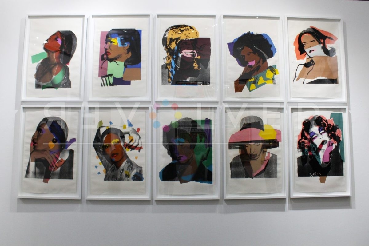 All ten prints from Andy Warhol Ladies and Gentlemen series, hanging on gallery wall.