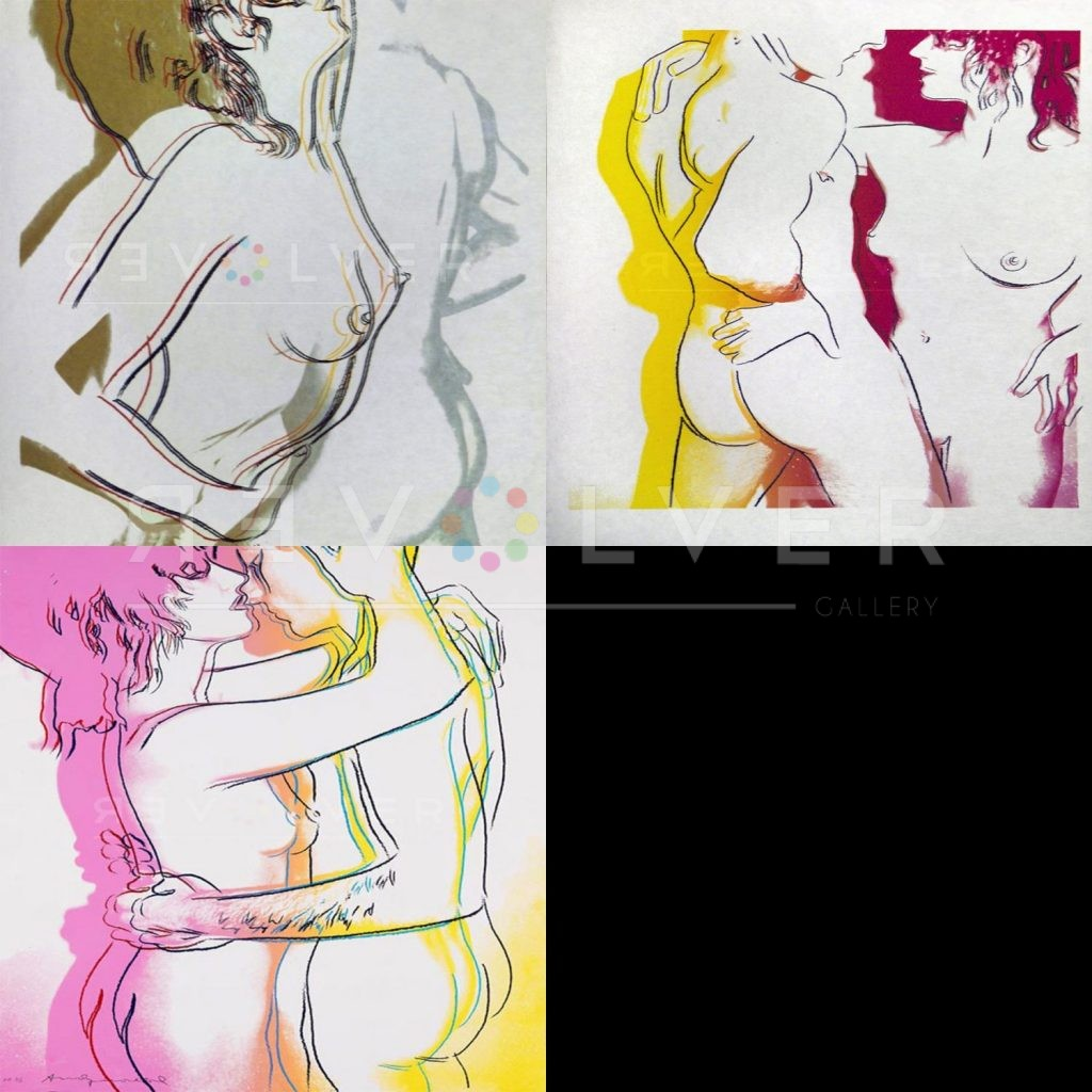 Andy Warhol Love Complete Portfolio showing all three prints, with Revolver gallery watermark.