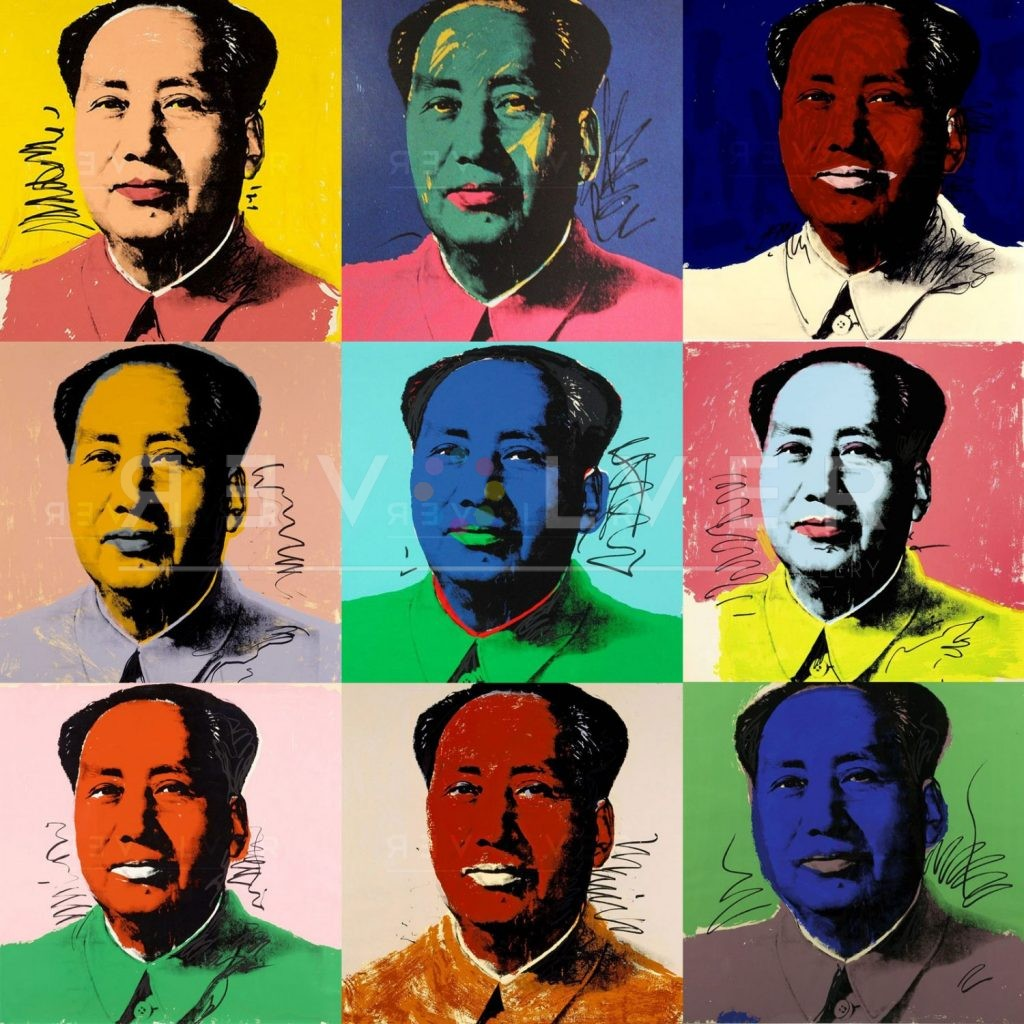 Andy Warhol Mao. Grid image showing nine prints from the complete portfolio.