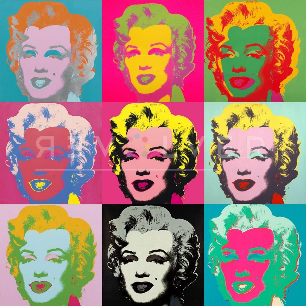 Andy Warhol Marilyn Monroe. Grid image previewing nine screenprints from the complete series.