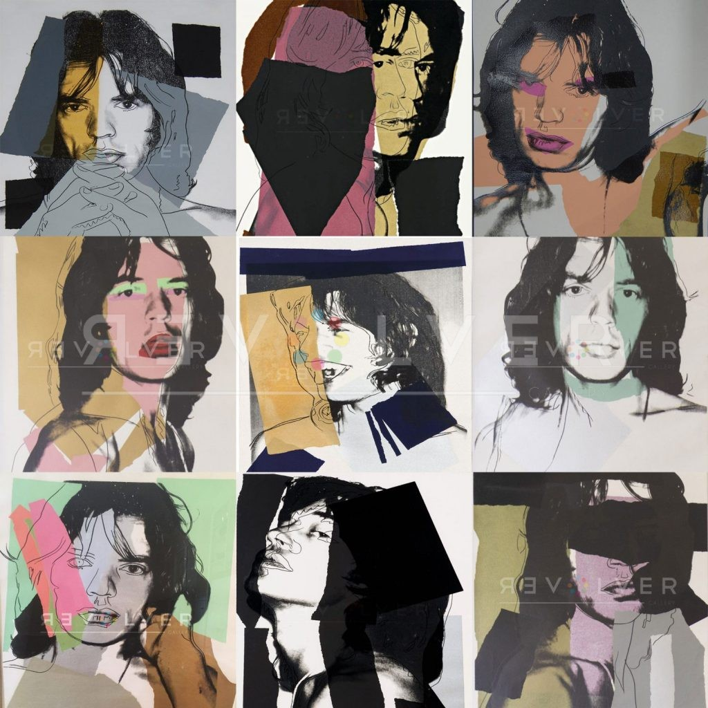 Andy Warhol Mick Jagger. Grid image showing all prints from the complete series.