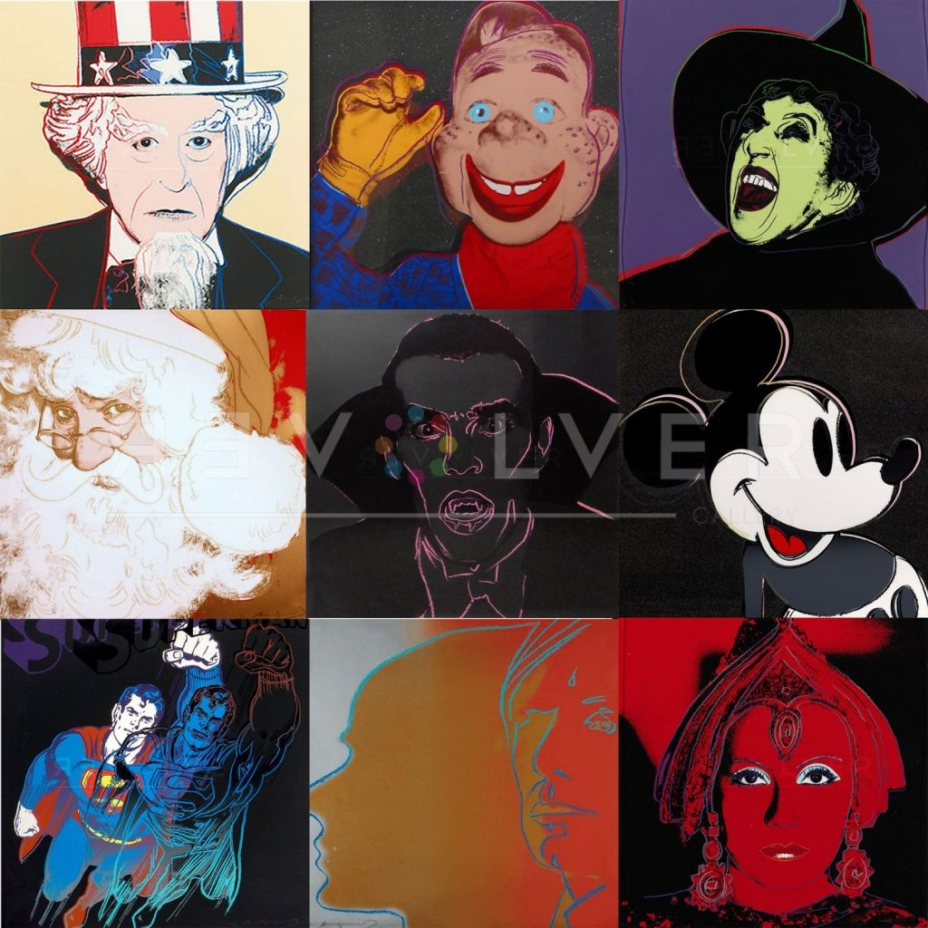 Andy Warhol Myths complete portfolio. Every screenprint from the series previewed in a grid image.