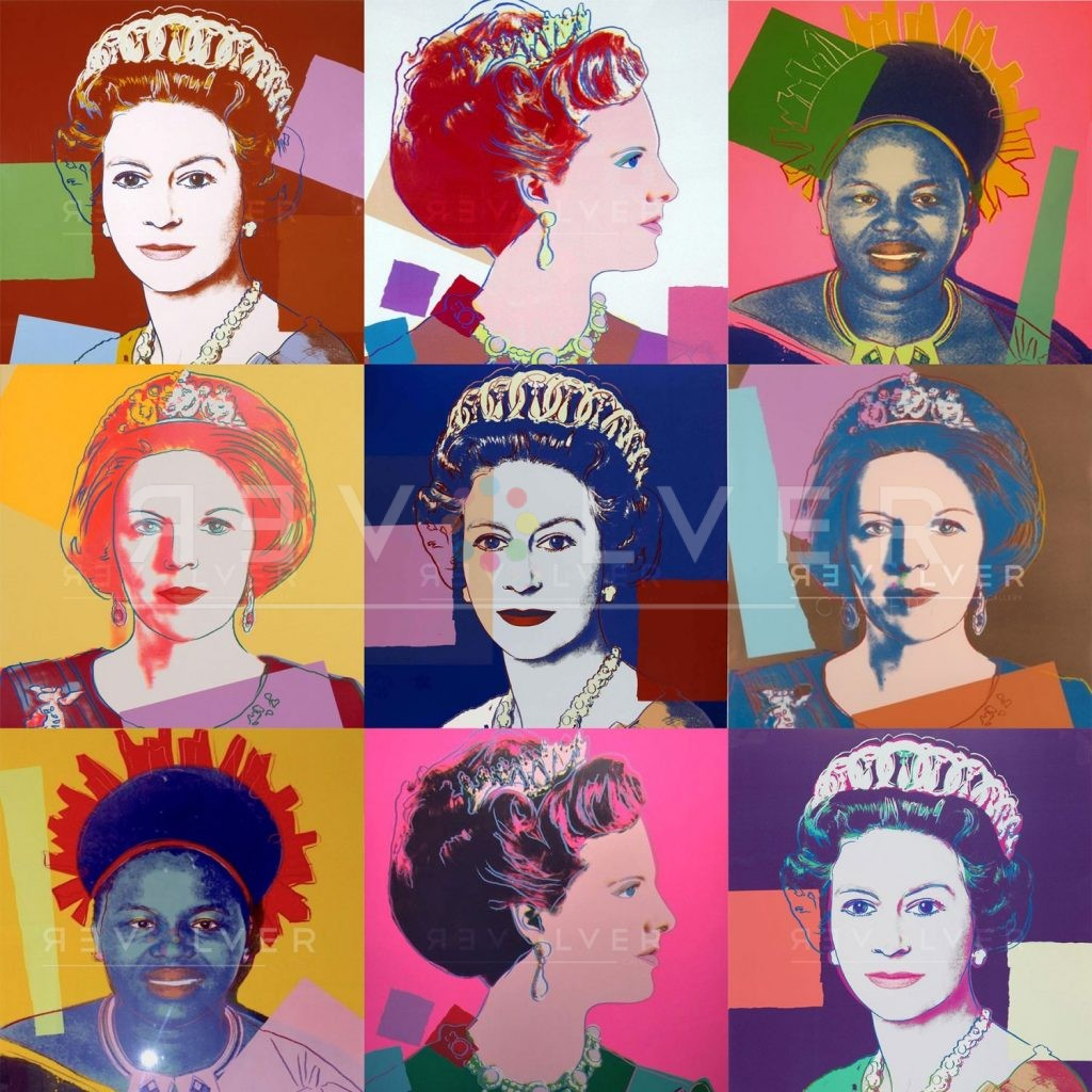 Warhol Reigning Queens complete portfolio. Nine images of the four queens from the series.