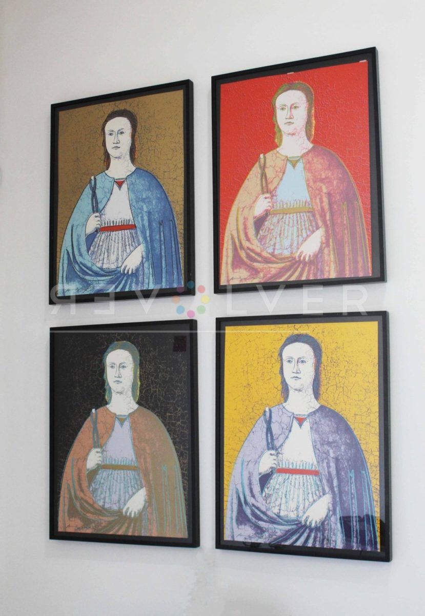 All four prints from And Warhol Saint Apollonia hanging on gallery wall.
