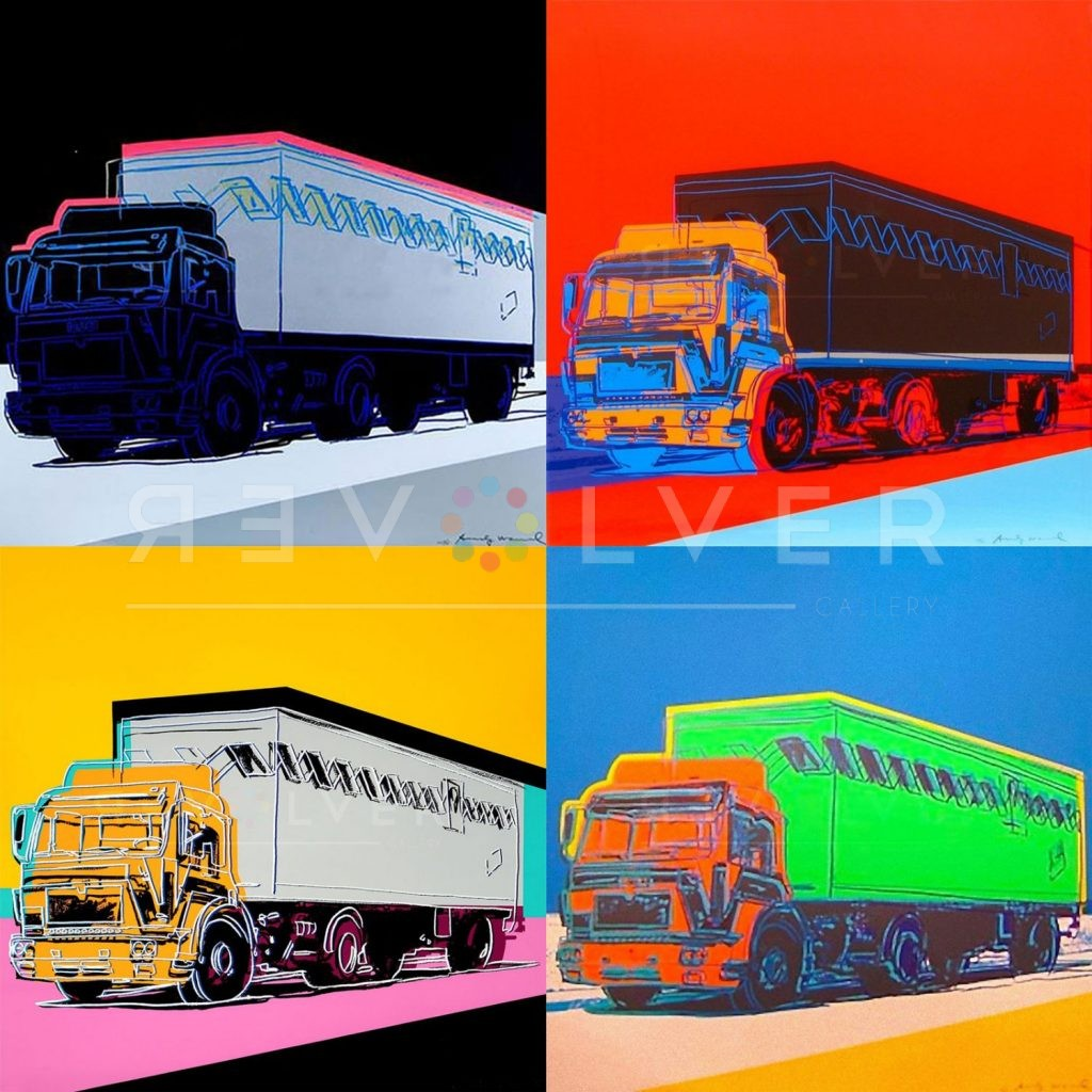 Andy Warhol Truck complete portfolio, all four prints in a grid with the revolver gallery watermark.