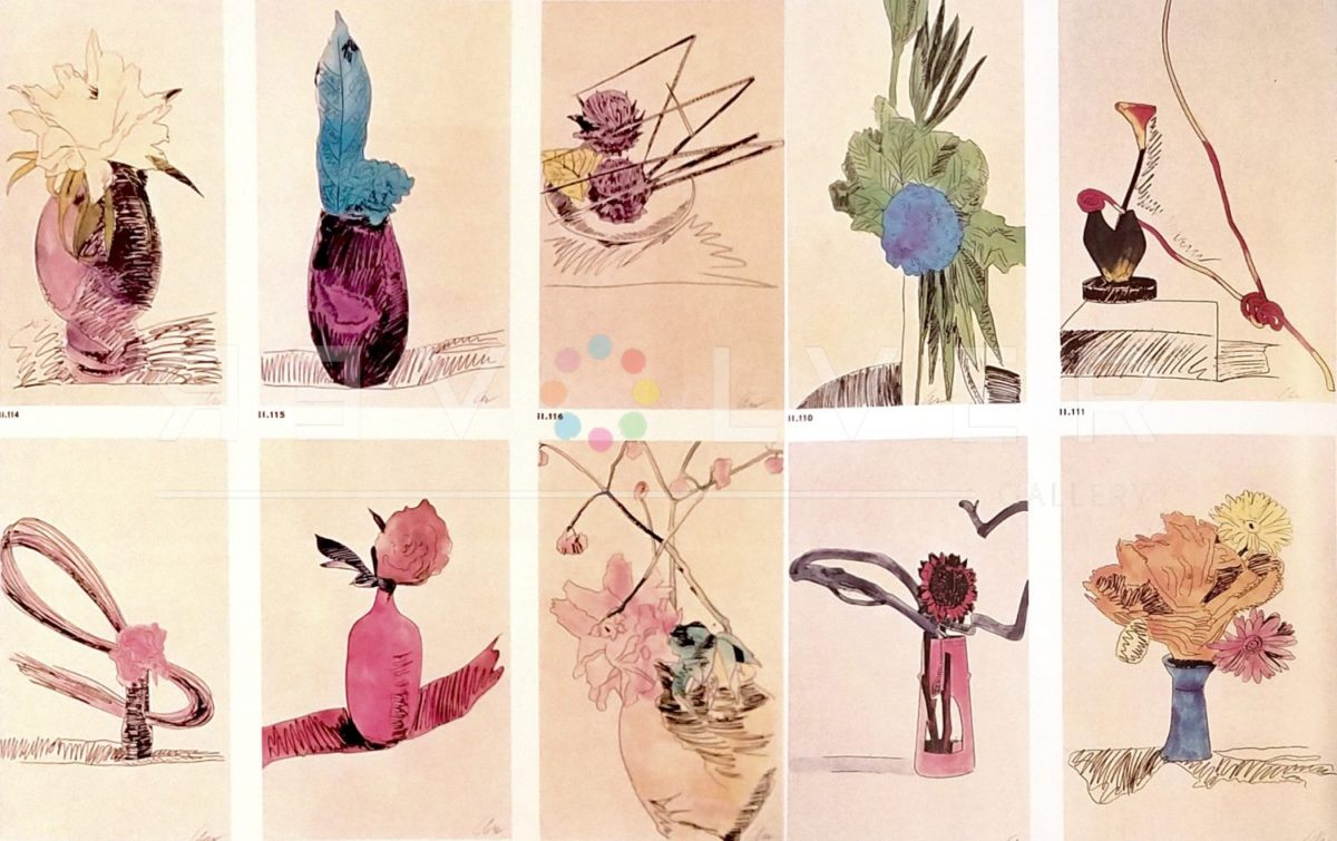 Stock photo of full Hand-Colored Flowers series by Andy Warhol. Prints show flowers of various colors in vases hand drawn on canvas. Contains Revolver water mark.