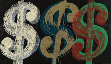 Andy Warhol Triple Dollar Sign for Revolver Gallery's Sell Your Warhol page.