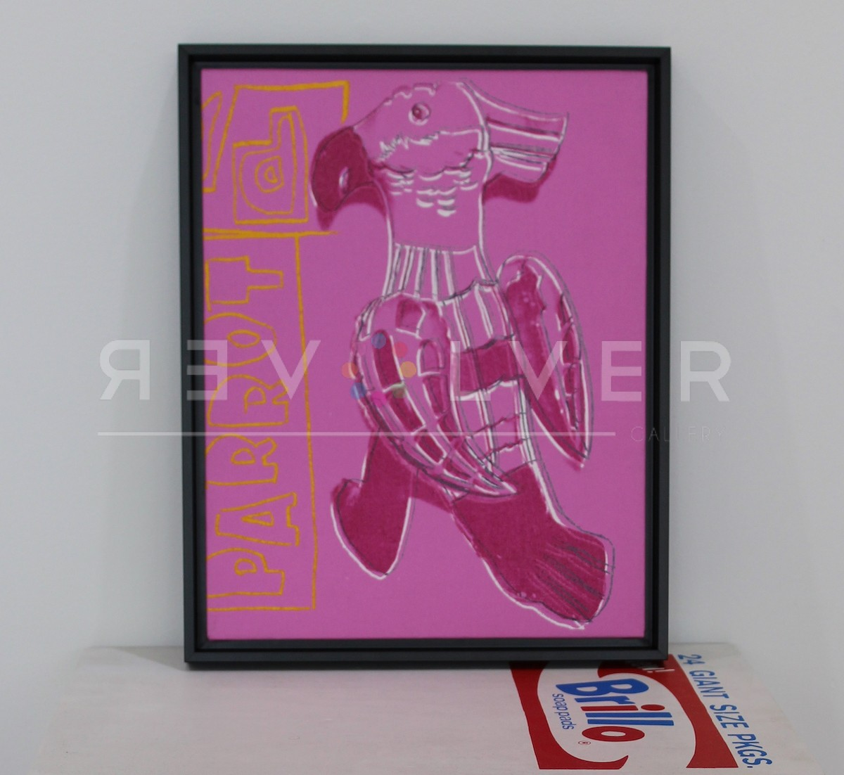 Picture of Toy Painting: Parrot, 1983, pink, yellow, gray, in frame, by Andy Warhol