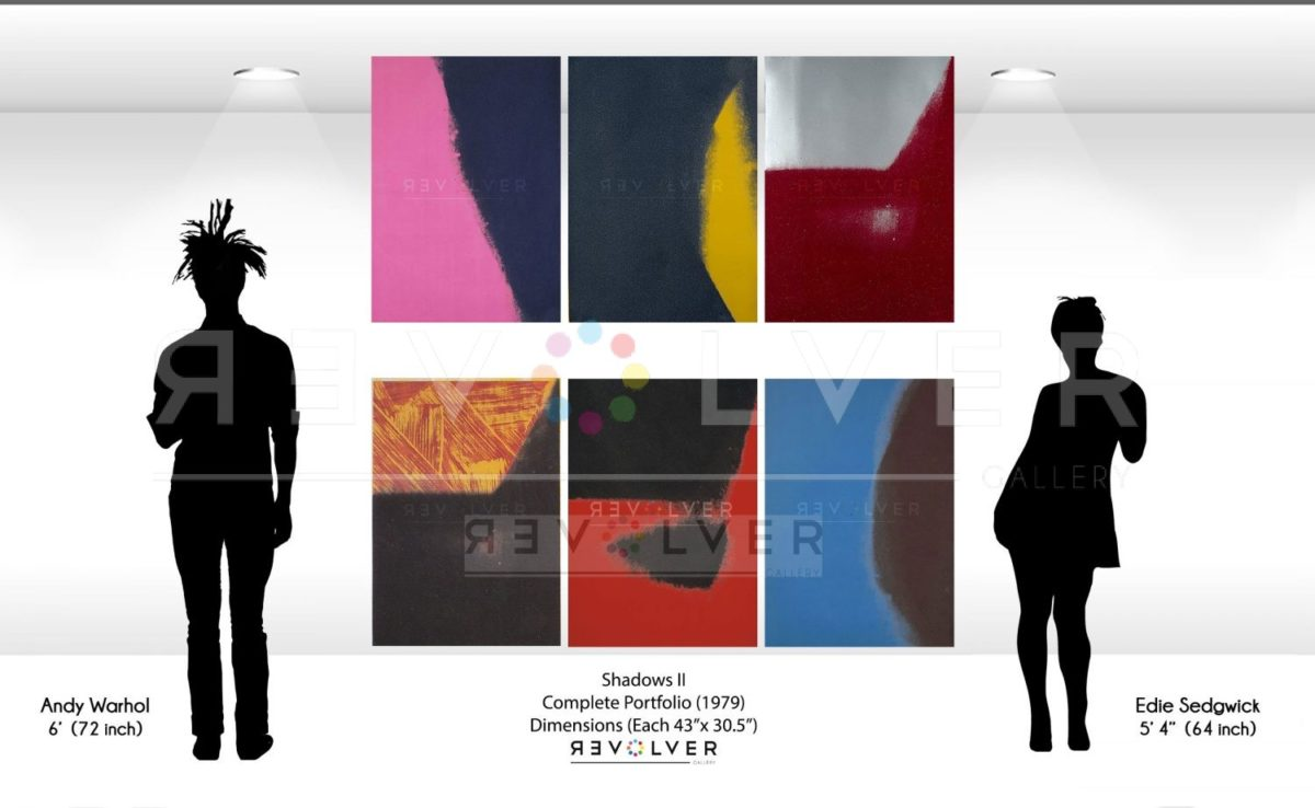 Andy Warhol Shadows II Complete Portfolio size comparison image. All 6 prints on the wall next to silhouettes of Andy Warhol and Edie Sedgewick.