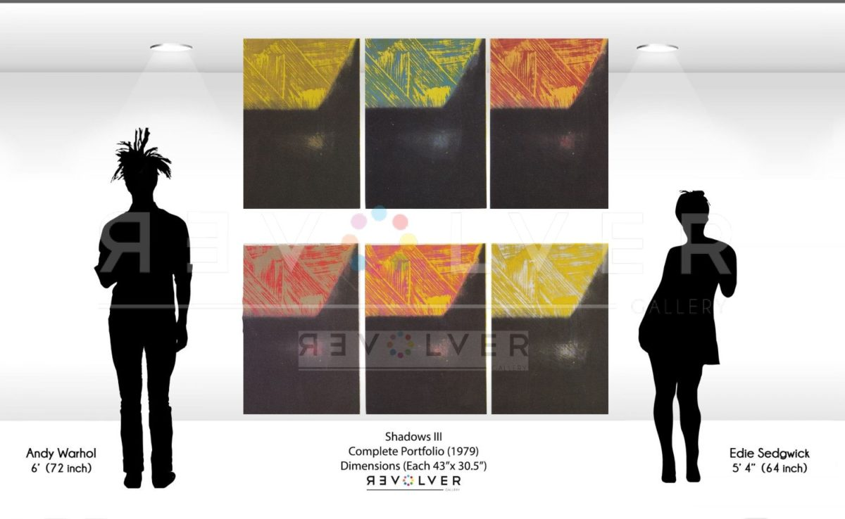 Andy Warhol Shadows III Complete Portfolio size comparison image. All 6 prints on the wall next to silhouettes of Andy Warhol and Edie Sedgewick.