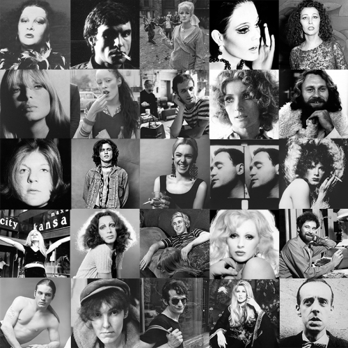 Photogrid of 25 of Warhol's superstars, including Edie Sedgewick, Billy Name, Candy Darling, Gerard Malanga, and Jackie Curtis.