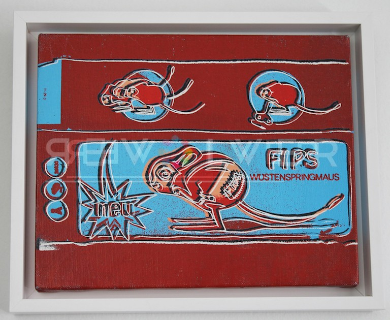 Picture of Toy Painting: FIPS (Mouse), 1983, red, white, blue, in frame, by Andy Warhol