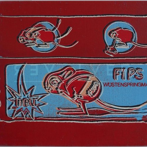 Picture of Toy Painting: FIPS (Mouse), 1983, red and blue, out of frame, by Andy Warhol