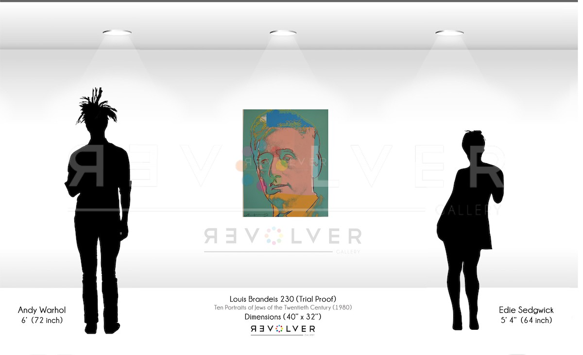 Size comparison of Louis Brandeis 230 (Trial Proof) against silhouette of Andy Warhol and edie Sedgewick. Painting is 40 inches by 32 inches.