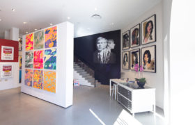 Revolver Gallery, inside, front desk, Camouflage, Andy Warhol, Mick Jagger, on Sunset Blvd.