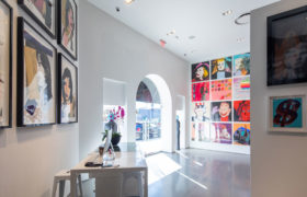 Revolver Gallery inside, Mick Jagger, front desk, Sunset Blvd.