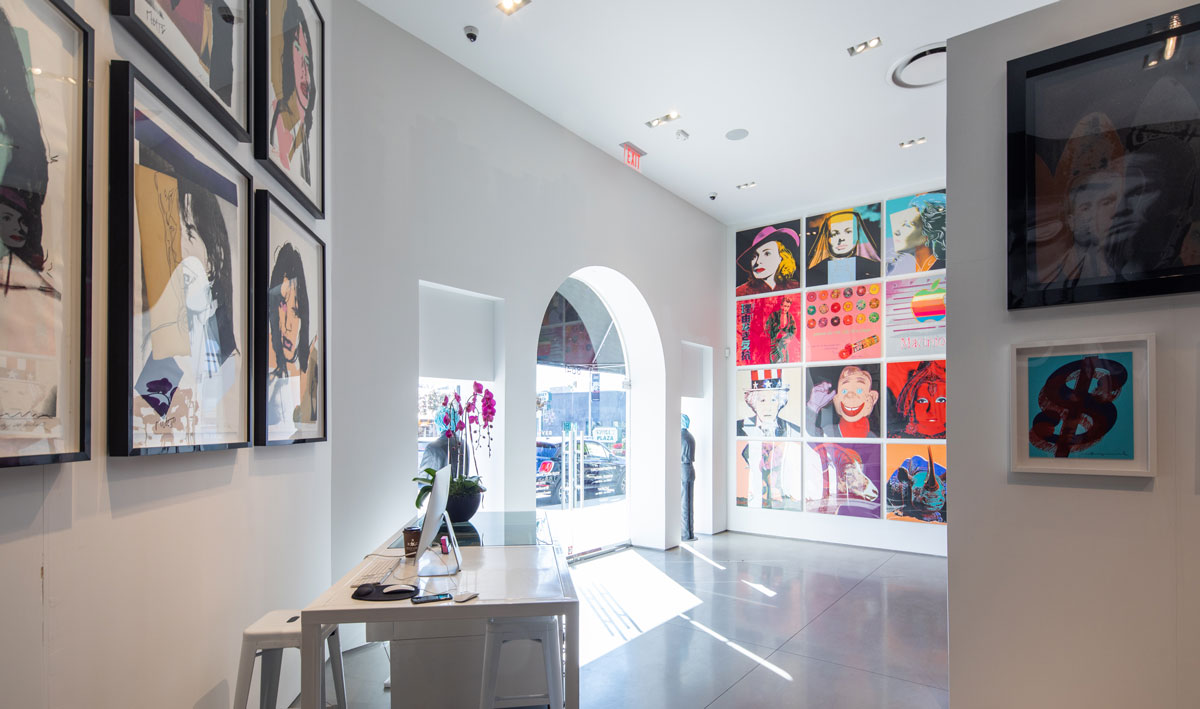 Revolver Gallery inside, Mick Jagger, front desk, Sunset Blvd.
