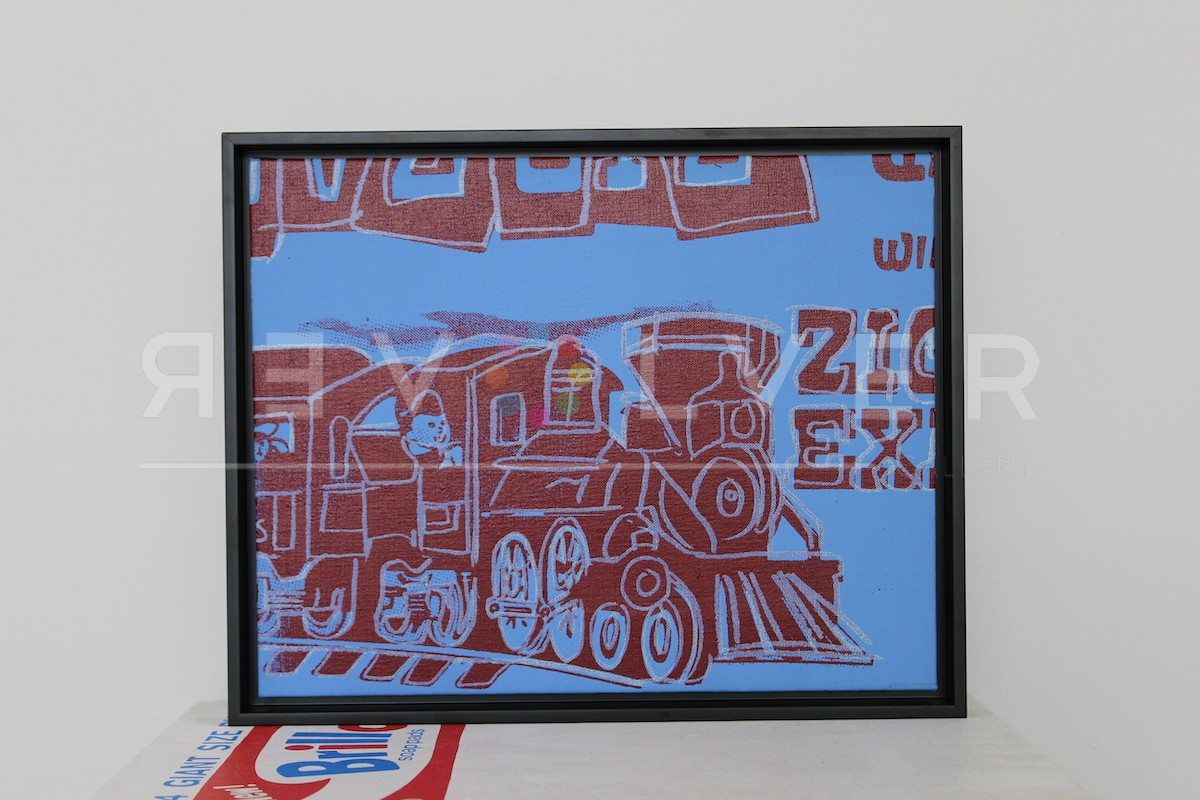 Picture of Toy Painting: Train, 1983, blue, red , white, in frame, by Andy Warhol