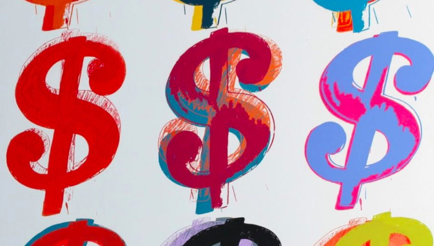 Andy Warhol Dollar Sign print, displayed to communicate the value of selling your Warhol.