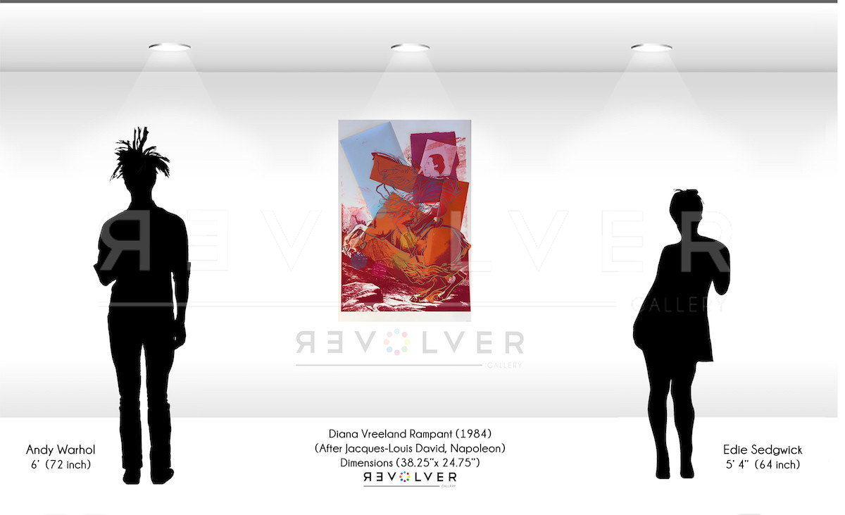 Size comparison image for Diana Vreeland Rampant, showing the print next to silhouettes of Warhol and Edie Sedgwick, and that the size of the print is 38.25 inches by 25 inches.