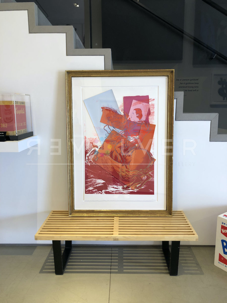 The Diana Vreeland Rampant screenprint framed and sitting inside Revolver Gallery, showing proof of custody.